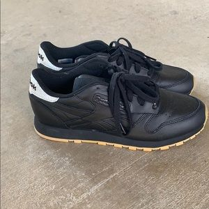 """Reebok classic, black leather """"low tops"""""""
